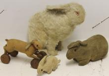 FOUR STEIFF RABBITS TO INCLUDE WHITE MOHAIR