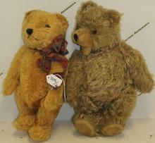 TWO STEIFF BEARS.  ONE IS LONG HAIRED JOINTED