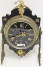 19TH C FRENCH SHELF CLOCK, GILT FIGURAL FINIAL,