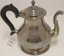 STERLING SILVER TEA POT BY LUNT WITH WOODEN