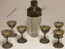 SEVEN PIECE STERLING SILVER COCKTAIL SET WITH