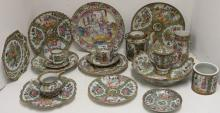 19 PIECES OF LATE 19TH C ROSE MEDALLION PORCELAIN