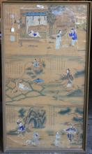 EARLY 19TH C CHINESE TRIPTYCH, HAND COLORED