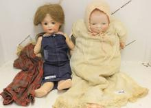 TWO BISQUE HEAD DOLLS INCLUDING A 16