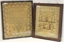 TWO FRAMED 19TH C NEEDLEWORK SAMPLERS.  ONE BY