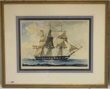 WATERCOLOR DRAWING DEPICTING 3 MASTED FRENCH