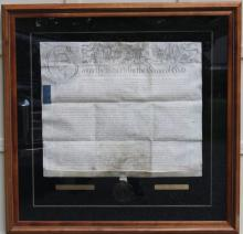 FRAMED INDENTURE DOCUMENT, SIGNED BY GEORGE III