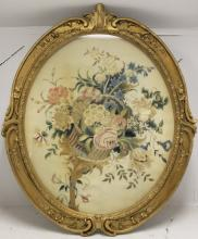 19TH C NEEDLEWORK ON SILK DEPICTING A BASKET OF
