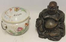 JAPANESE CARVED WOODEN SEATED BUDDHA, CA 1920,