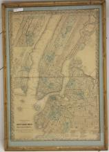 MAP OF NEW YORK CITY, 1865, HAND COLORED, FRAMED,