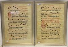 2 FRAMED 18TH C VELLUM ILLUSTRATED MUSIC LEAVES