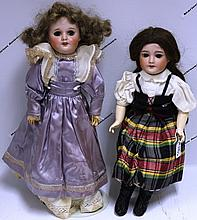 LOT OF TWO S.F.B.J. BISQUE HEAD DOLLS,