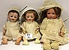 THREE GERMAN BISQUE HEAD BABY DOLLS, PAIR OF