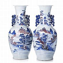 Pair of vases in porcelain from China, Guangxu