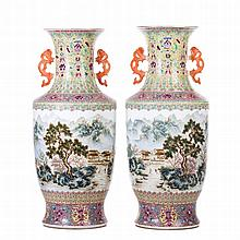 Pair of large vases in Chinese porcelain
