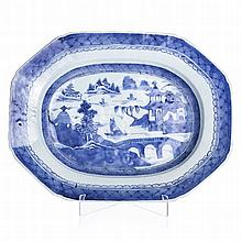 Octagonal platter in Chinese porcelain, Guangzhou