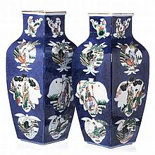 Pair of square vases in Chinese porcelain, Tongzhi