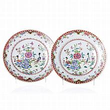 Pair of plates '​​peacocks' in Chinese porcelain, Qianlong