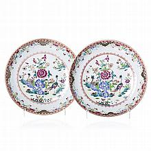 Pair of saucers 'peacocks' in Chinese porcelain, Qianlong
