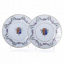 Pair of plates with French Coat of Arms, Chinese export porcelain