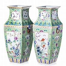 Pair of square vases in Chinese porcelain