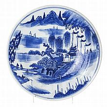 'Scenery' plate in Chinese porcelain, Tongzhi
