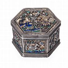 Hexagonal box in Chinese silver