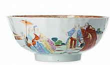Punch bowl 'European figure' in Chinese porcelain, Qianlong