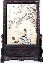 Chinese table screen with 'birds' in tamarind and silk