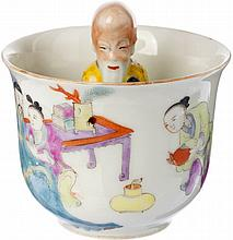 Bowl 'trick-cup' in Chinese porcelain, Guangxu