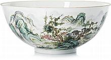 Punch bowl in Chinese porcelain, eggshell