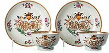 Pair of wedding cups and saucers in Chinese porcelain, Qianlong