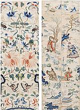 Two pairs of Chinese embroideries