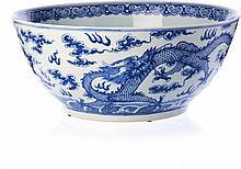 Punch bowl 'dragons' in Chinese porcelain, Tongzhi