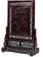 Large Chinese screen with a 'scenery' in tamarind