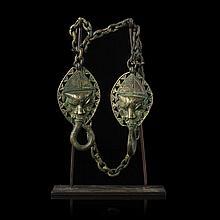 OGONI - Pair of bronze figural medallions