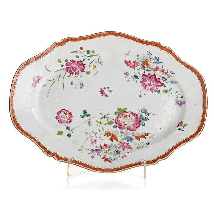 Oval trimmed platter, Famille Rose
