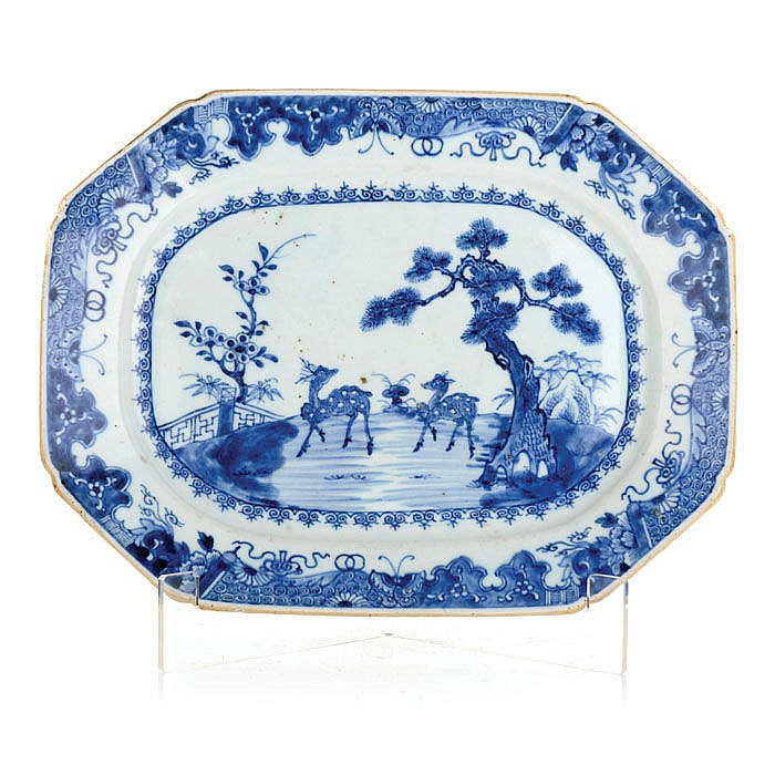 Platter octagonal in Chinese porcelain