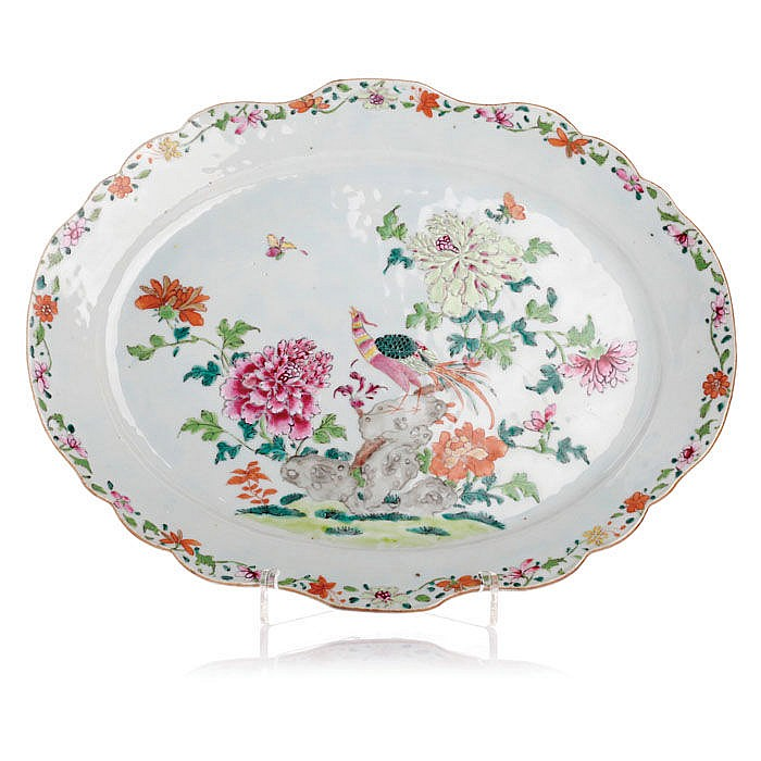 Platter 'pheasant' in export porcelain