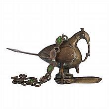 Islamic figural oil lamp