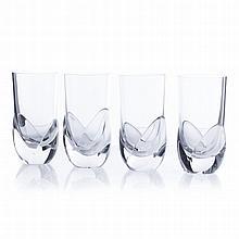 DAUM, FRANCE - Four crystal chalices