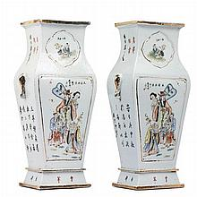 Pair of vases with figures in Chinese porcelain, Minguo