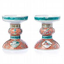 Pair of candle holders in Chinese porcelain,  Jiaqing / Dauguang
