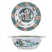Large bowl in Chinese porcelain, Famille Vert, Guangxu