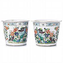 Pair of jars 'quails' in Chinese porcelain, Guangxu