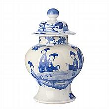 Chinese 'female figures' pot in Chinese porcelain, Guangxu