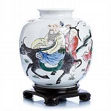 Pot with 'Shoulao riding a buffalo' in porcelain, Guangxu