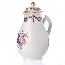 Coffee pot in Chinese porcelain, Famille Rose, Qianlong