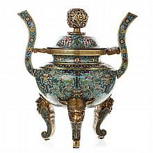 Chinese incense burner in bronze cloisonné, Tongzhi