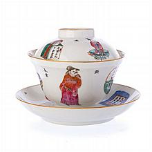 Saucer, bowl and lid, in Chinese porcelain, Daoguang
